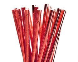 Paper Straws - Red Foil