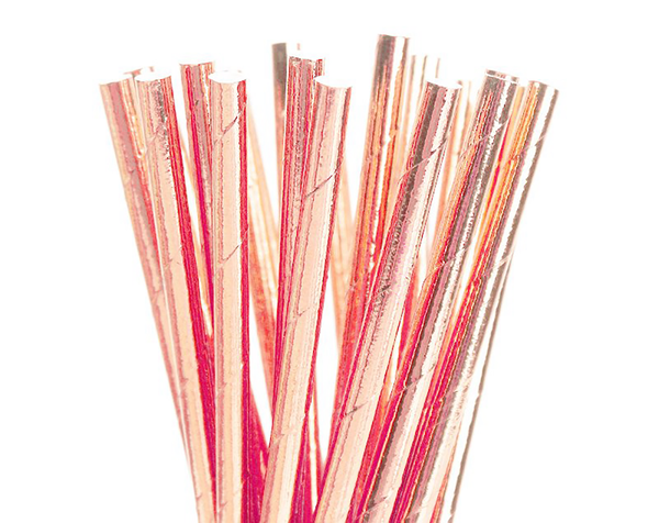 Paper Straws - Rose Gold Foil