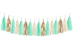 Mint & Gold Tassel Garland Kit
