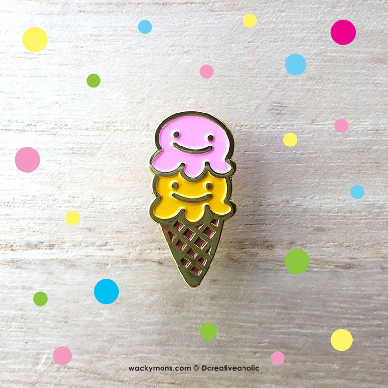 Wackymons Ice Cream Pin featured In