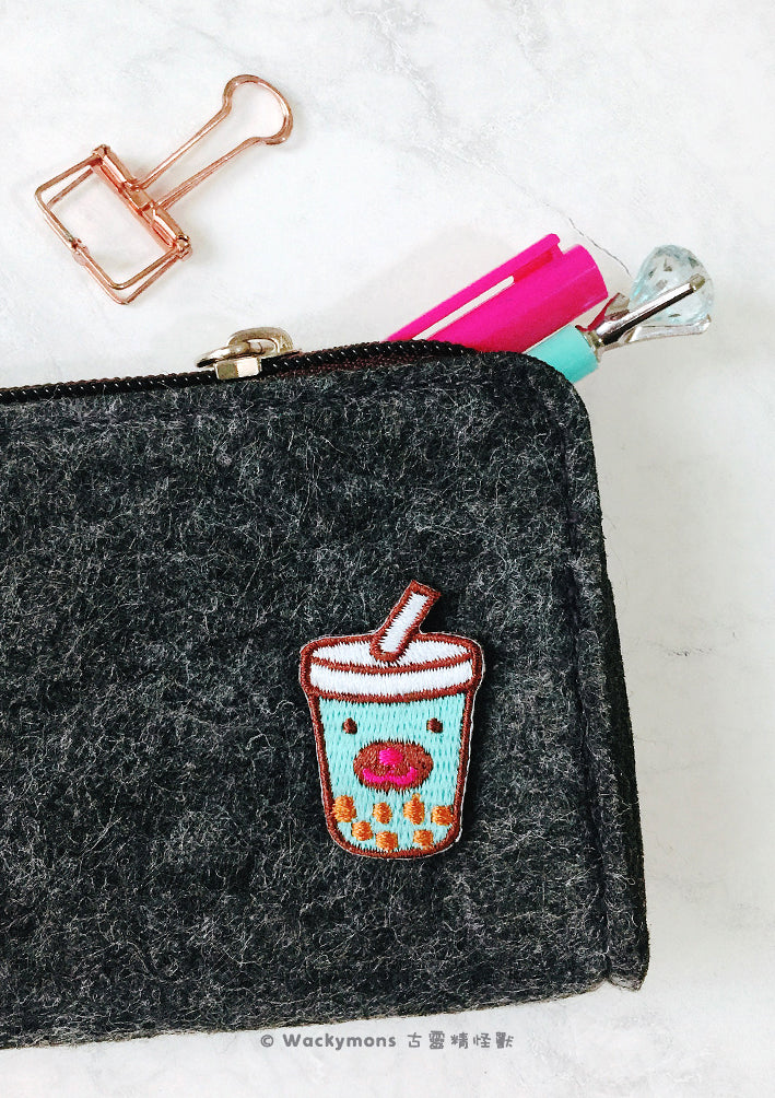 Mint Bubble Tea Embroidery Pin