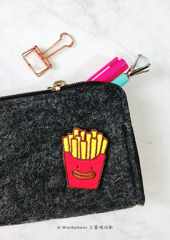French Fries Monster Embroidery Pin