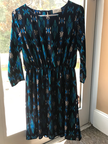 Everly Size Small or Medium 3/4 Length Sleeve Scoop Neck Dress in royal blue and jade On Sale