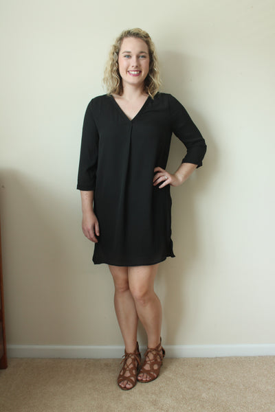 Black V NECK Dress SIZE SMALL  Maggie Dress On Sale