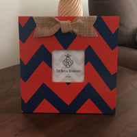 Chevron Picture Frame with Burlap Bow On Sale