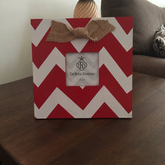 Chevron Picture Frame with Burlap Bow