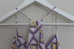 Pixi + Ivy Razor Back Tank Top Purple and Yellow