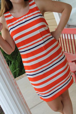 Everly Stripe Shift Dress Orange and Navy Sleeveless Dress