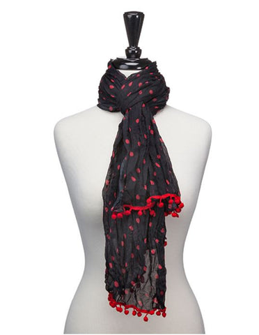 Occasionally Made Red and Black Pom-Pom Scarf Sale