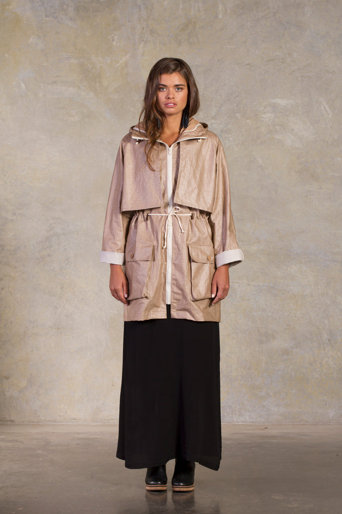 Amy Eliav Ward Jacket Wo- PU coated Linen Made in Melbourne Australia