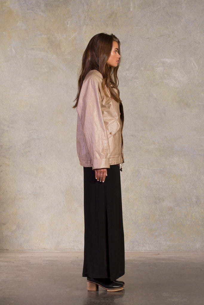Amy Eliav Bento Jacket.  PU linen in sand  Made in Melbourne Australia, Auckland New Zealand