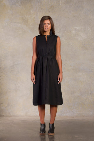 Midnight Minato Dress - Black Linen