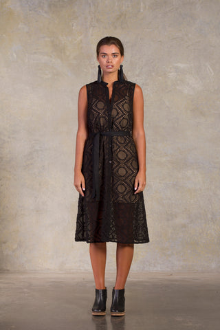 Midnight Minato Dress - Black Embroidered Silk