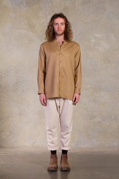Amy Eliav Lonely Traveller Shirt  Gold linen  Made in Melbourne Australia & Auckland New Zealand