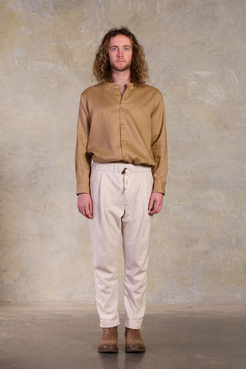 Ryoko Wool Pant- off white  Pleated  Made in Melbourne Australia