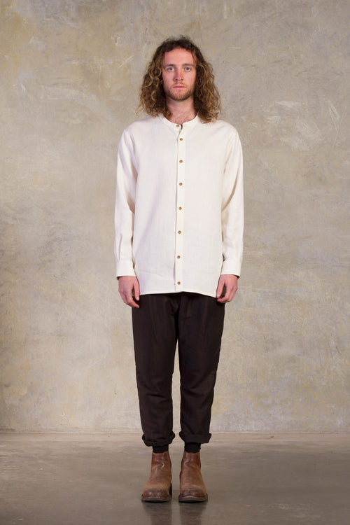 Amy Eliav Lonely Traveller Shirt  Cream linen  Made in Melbourne Australia & Auckland New Zealand