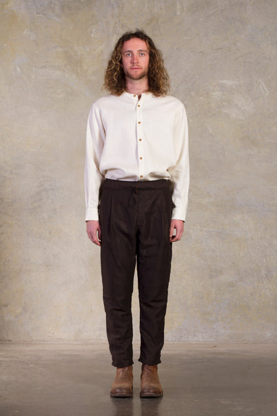 Ryoko Linen Pant- Coffee/ chocolate  Pleated  Made in Melbourne Australia