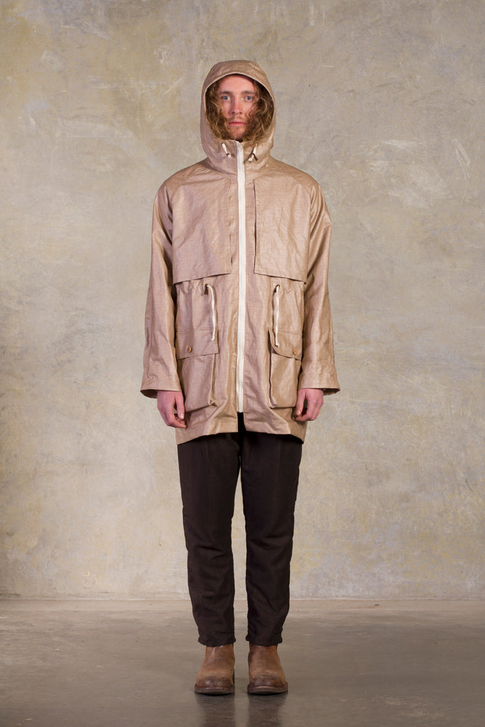 Amy Eliav Ward Jacket, PU coated linen leather detailing  Made in Melbourne Australia