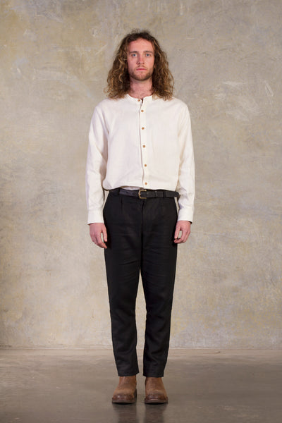 Amy Eliav Mart Tailored Pant - Black Linen with Genuine horn buttons Made in Melbourne Australia