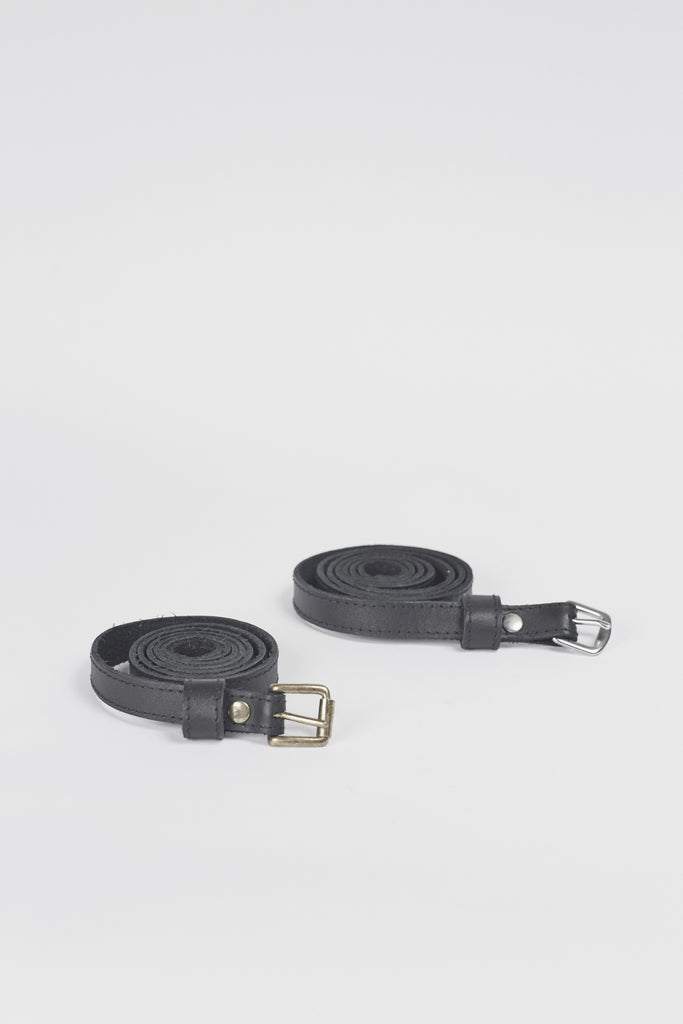 Amy Eliav Little Black leather Belt with Silver Hardware