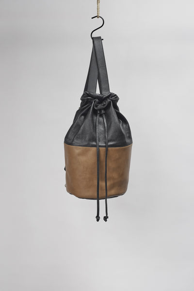 Amy Eliav Italian 100% leather backpack in black/tan. Made in Melbourne
