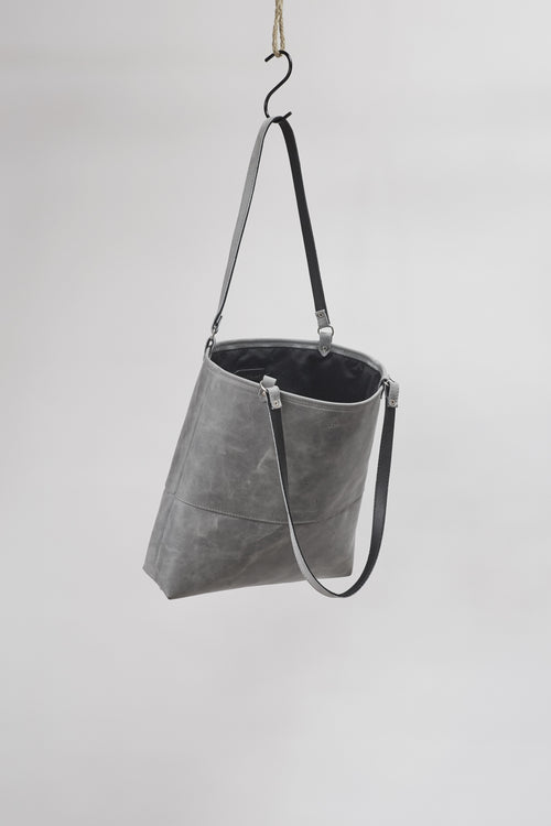 Amy Eliav Tote 100% Leather Cow Australian wax Grey marble. Made in Melbourne Australia & Auckland New Zealand