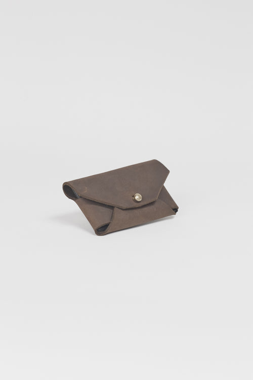 Amy Eliav Crane Wallet . Oil Finish Chocolate leather. Made in Melbourne Australia & Auckland New Zealand