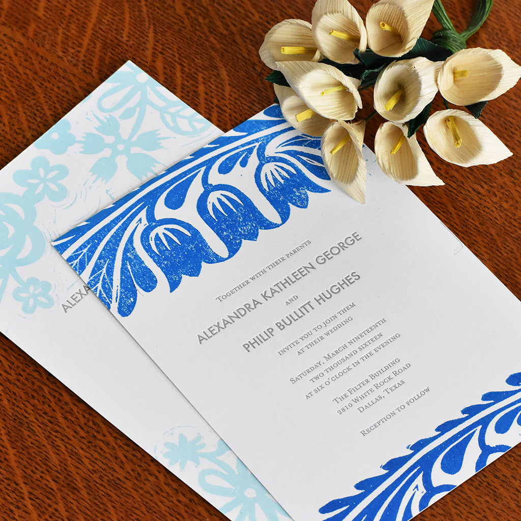 Block Printed Wedding Invitations