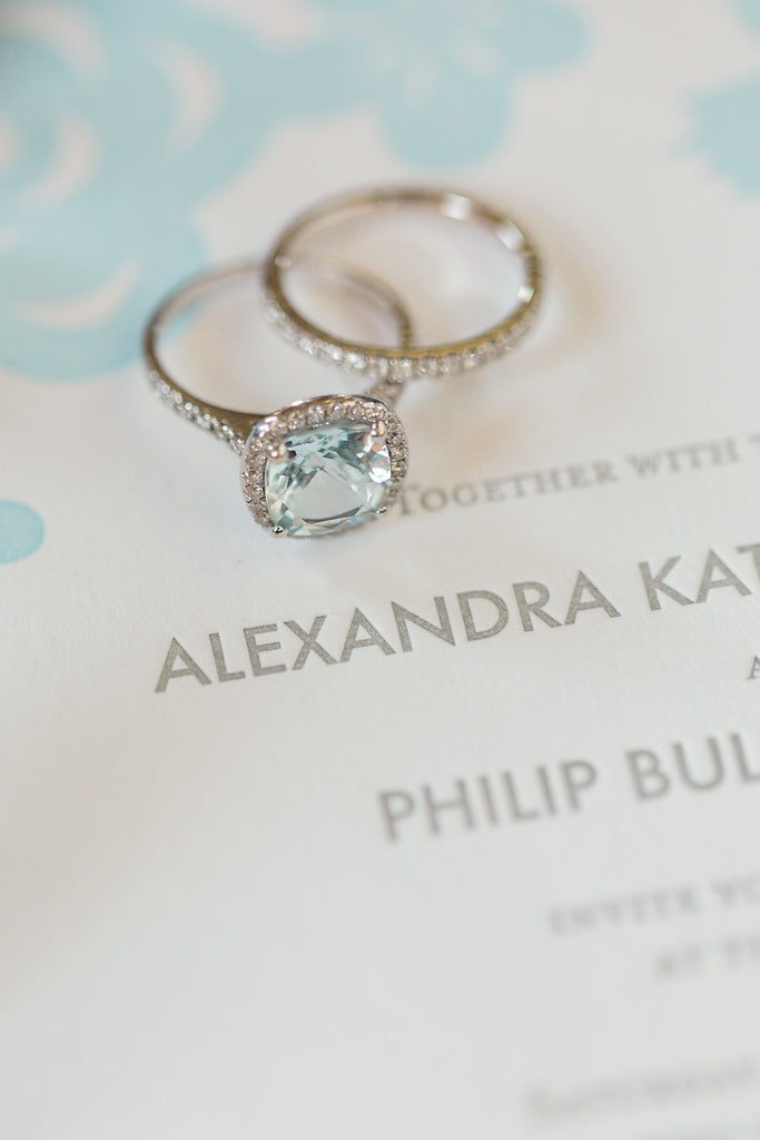 Cut Paper Wedding Invitations and Aquamarine Engagement Ring