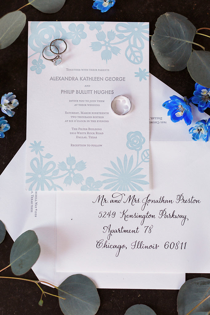 Cut Paper Letterpress Wedding Invitations