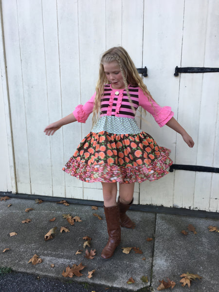 girl's pumpkin twirl dress for Halloween Thanksgiving