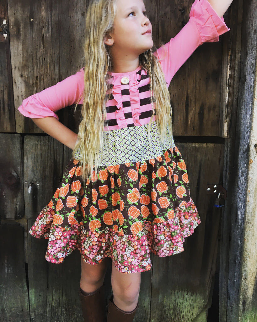 girl pumpkin twirl dress