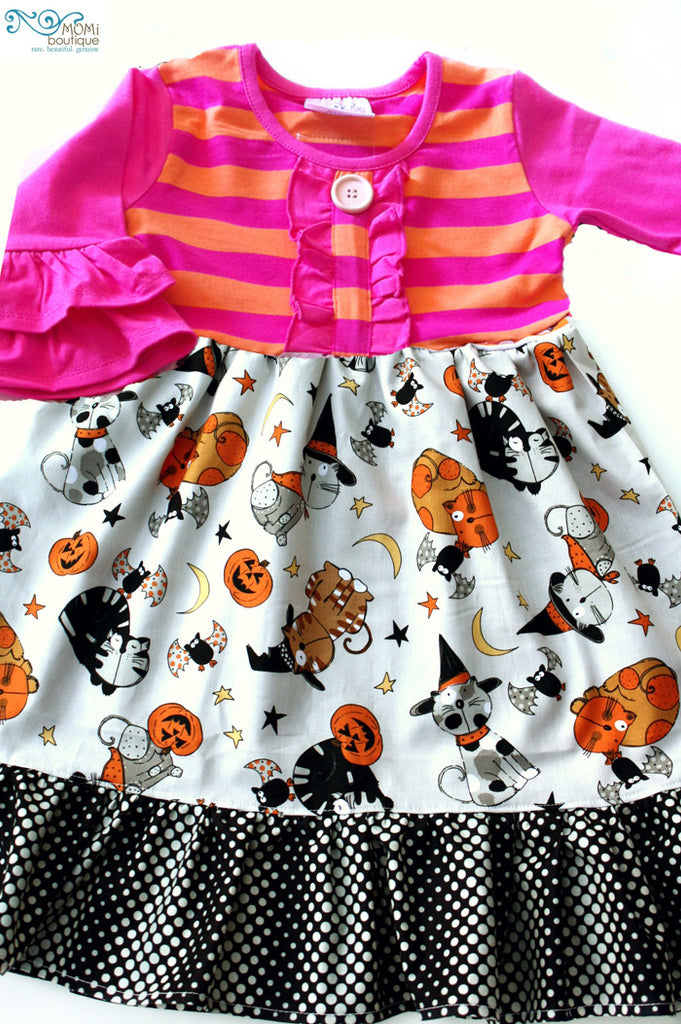 Halloween Cat Dance 3/4 sleeve dress