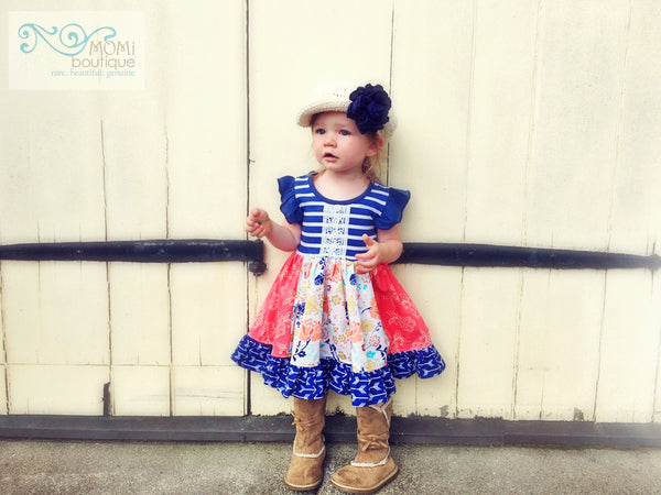 navy coral flower portrait dress for girls