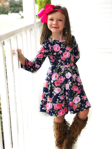 Navy Floral Garden twirl dress