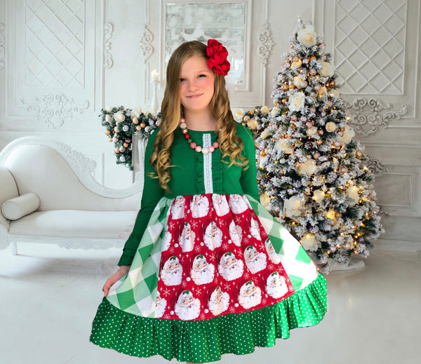 Green lace Santa Claus dress