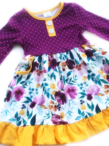 Plum Polka Dot Pocket dress