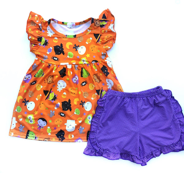 Vintaged Halloween tunic & purple dot shorts