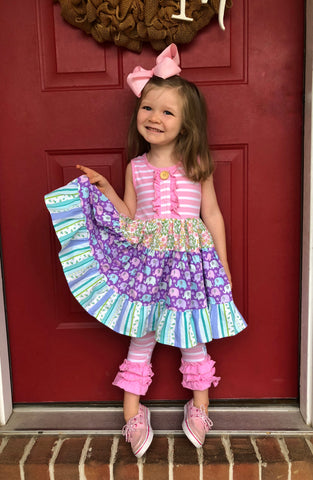 Rainbow Elephant Twirl dress