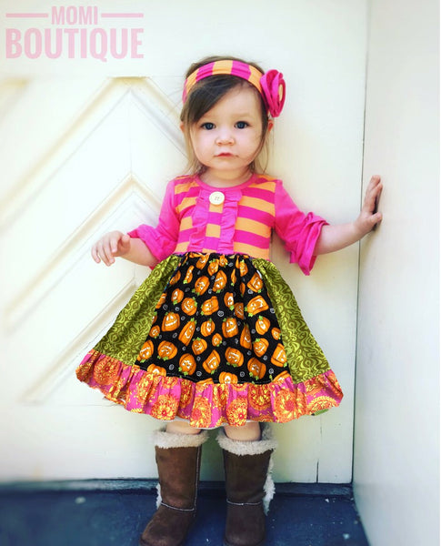 girl's Halloween pumpkin patch dress