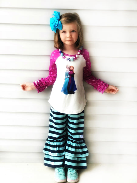 Frozen sisters top & ruffle bottoms