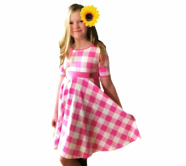 School girl Plaid Twirl dress in Pink