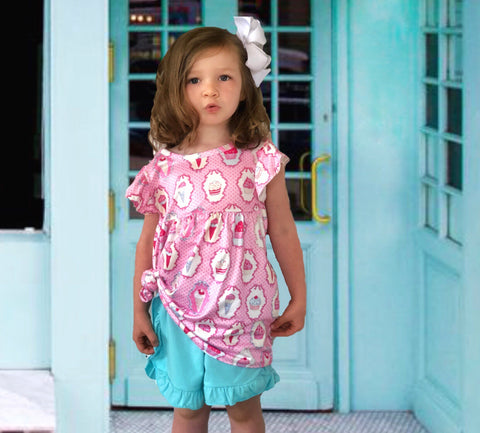 Ice Cream & Cupcakes tunic & shorts