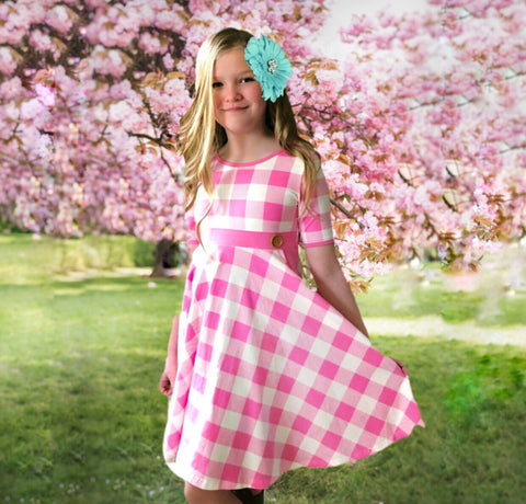 Plaid Twirl dress in Strawberry Cream
