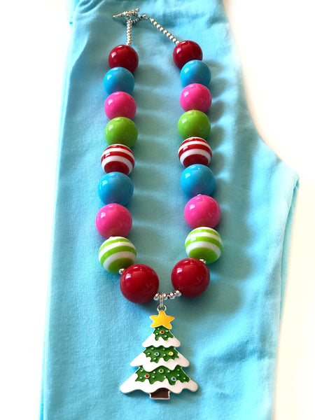 chunk bead christmas tree necklace