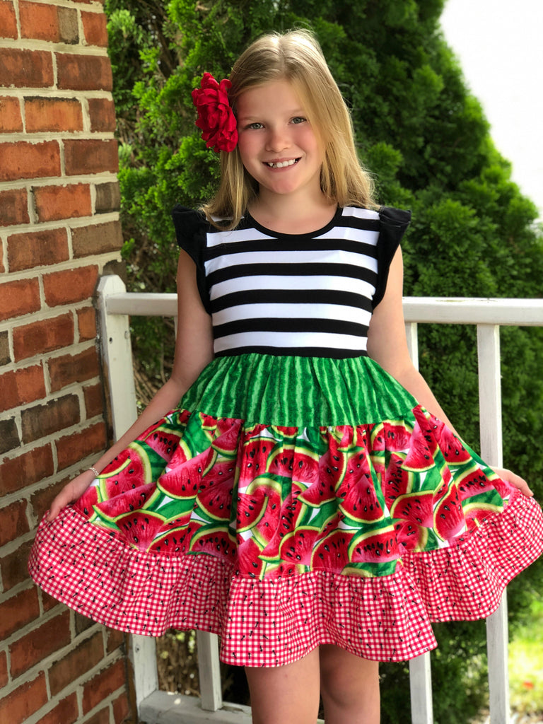 Watermelon Picnic flutter sleeve dress