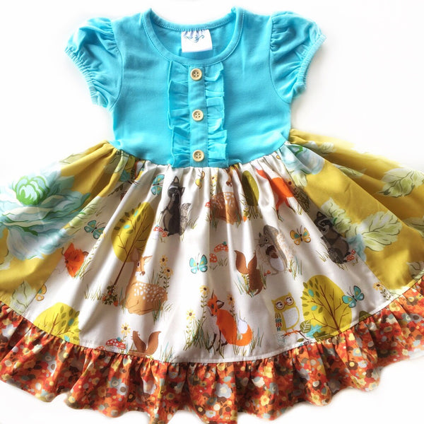 toddler girls aqua gold animal dress