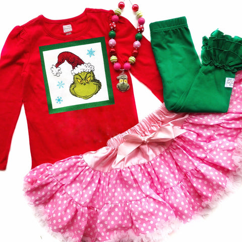 Grinch shirt & skirt