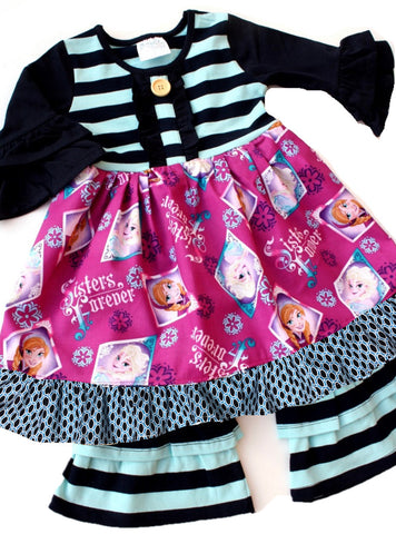 Doorbuster Frozen Sisters Forever 3/4th sleeve dress