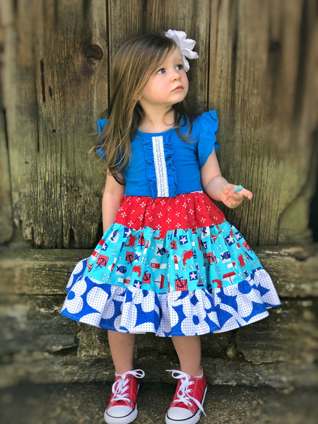Nautical Beach Twirl dress